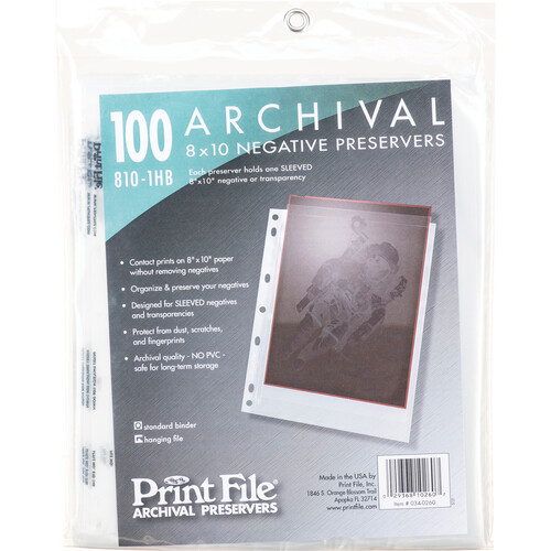 "Print File Archival Storage Page for Negatives, 8x10"", Holds 1 Negative or Transparency (Hanger or Binder) - 100 Pack"