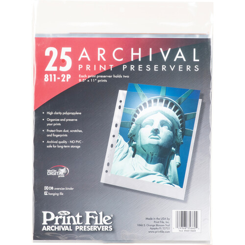 """Print File 811-2P Archival Storage Page for 2 Prints (8.5 x 11"""", 25-Pack)"""