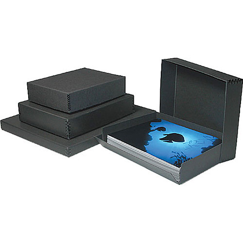"Print File Drop-Front Metal Edge Archival Storage Box (Black, 8.5 x 10.5 x 3"")"