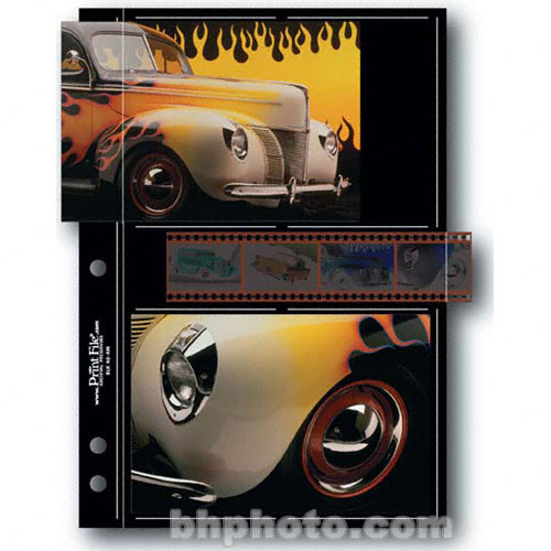 """Print File Premium Series-M Archival Storage Page for Prints - 4x6"""" - Holds 4 Prints & Strip of 4 Negatives, Black Background - 25 Pack"""