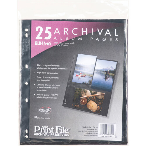 """Print File Premium Series-S Archival Storage Page for Prints - 4x6"""" - Holds 6 Prints - Black Background - 25 Pack"""