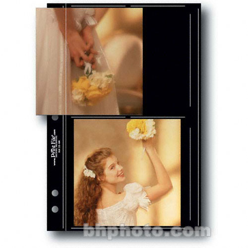 """Print File Premium Series-M Archival Storage Page for Prints - 5x5"""" - Holds 4 Prints - Black Background - 25 Pack"""