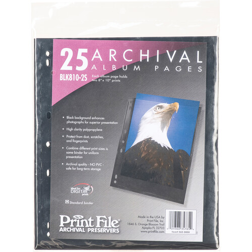 "Print File Premium Series-S Archival Storage Page for Prints - 8x10"" - Holds 2 Prints - Black Background - 25 Pack"