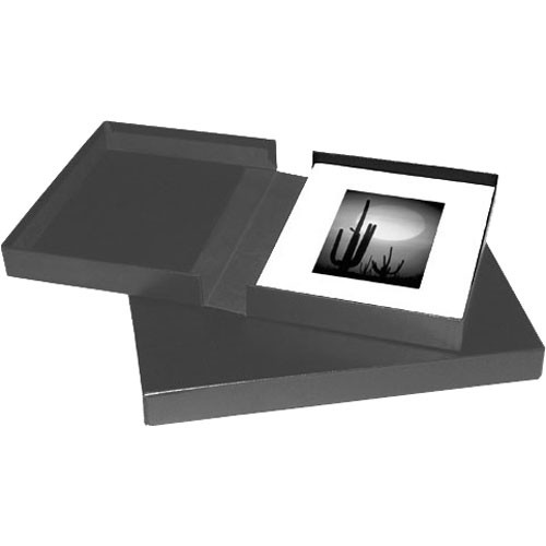 Print File Black Clamshell Archival Portfolio Box with Black Lining-13x19x1-3/8""