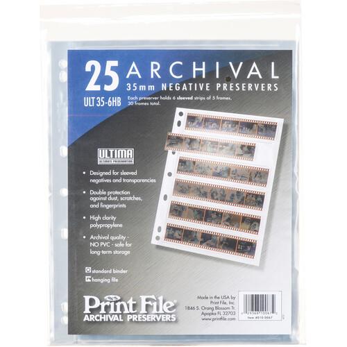 """Print File Archival Storage Page """"Ultima"""" for Negatives, 35mm, 6-Strips of 5-Frames (Hanger or Binder) - 25 Pack"""