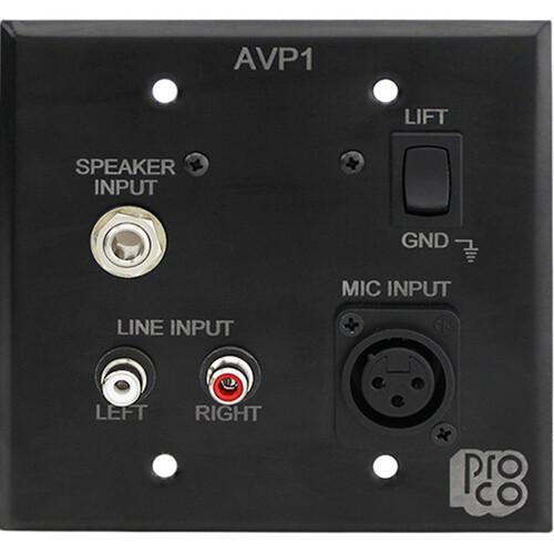 Pro Co Sound AVP-1 - Wallplate Audio/Video Interface - Black