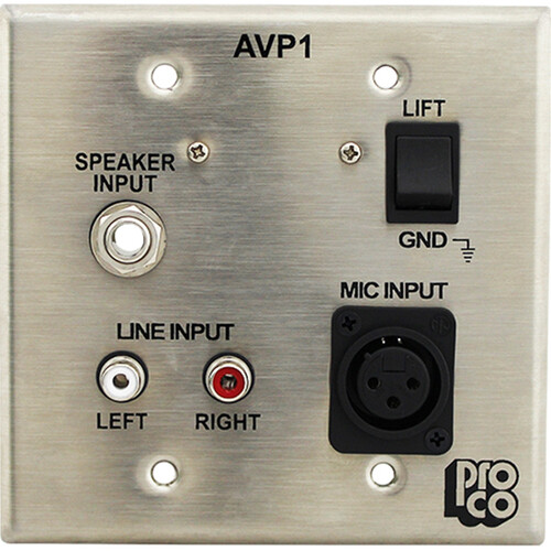Pro Co Sound AVP-1 - Wallplate Audio/Video Interface - Stainless Steel