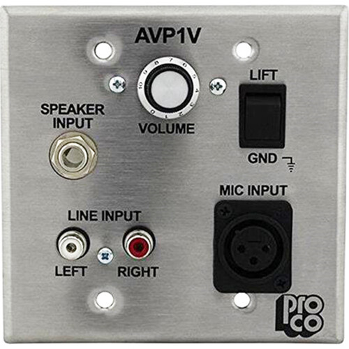 Pro Co Sound AVP-1V - Wallplate A/V Interface w/Volume Control - Stainless Steel