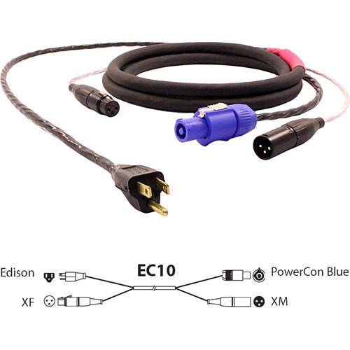 Pro Co Sound EC10 Siamese Twin AC (Edison to Powercon Blue) & Audio (XLR Female to XLR Male) Combo Cable- 10'