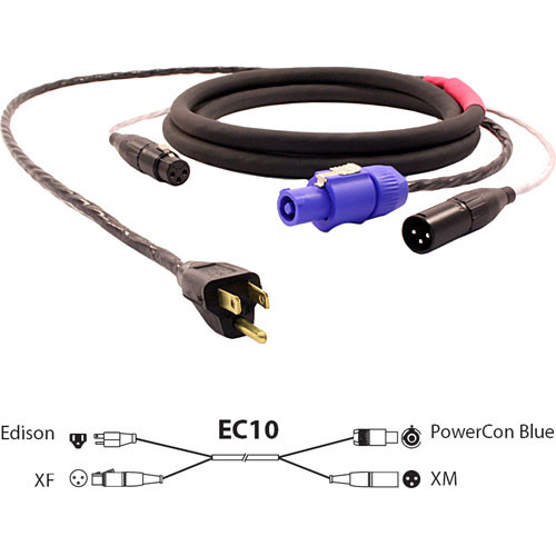 Pro Co Sound EC10 Siamese Twin AC & Audio Combo Cable - 10'