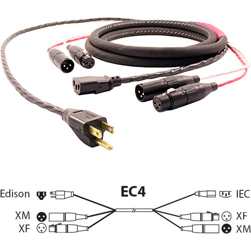 Pro Co Sound EC4 Siamese Twin AC & Audio Combo Cable - 10'