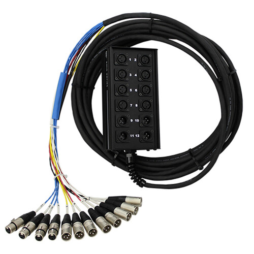 Pro Co Sound RoadMaster Series Snake 12 Channel Stagebox to Fanout Cable (8x Send + 4x XLR Male Return) - 150'