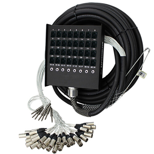 "Pro Co Sound RoadMaster Snake 32 Channel Stagebox to Fanout (24x Send + 8x 1/4"" TRS Stereo Phone Male Return) - 100'"