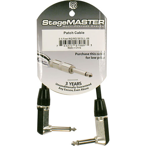 "Pro Co Sound StageMASTER 1/4""  Angled Male to 1/4""  Angled Male Instrument Cable - 0.5'"