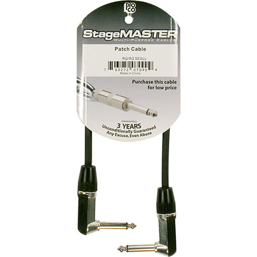 "Pro Co Sound StageMASTER 1/4""  Angled Male to 1/4""  Angled Male Instrument Cable - 3'"