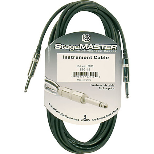 "Pro Co Sound StageMASTER 1/4"" Male to 1/4"" Male Instrument Cable - 15'"