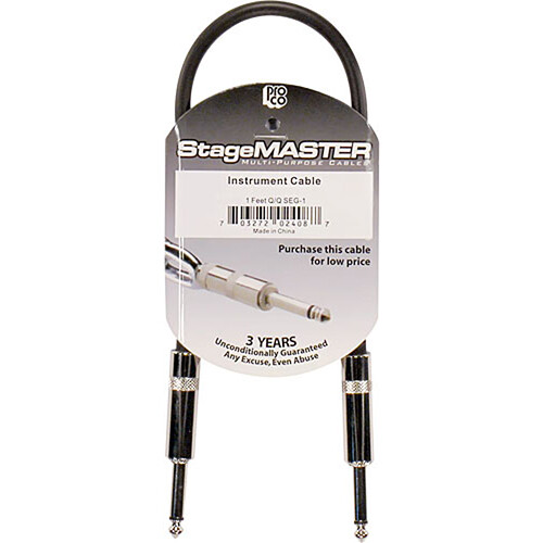"""Pro Co Sound StageMASTER Series 1/4"""" Phone Male to 1/4"""" Phone Male Instrument Cable - 1'"""