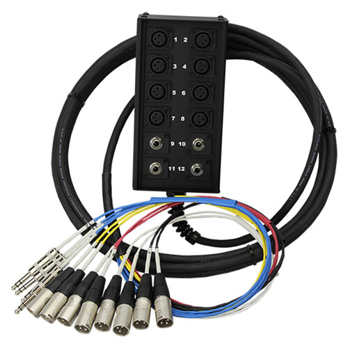 """Pro Co Sound StageMaster Snake 12 Channel Stagebox to Fanout (8x Send + 4x 1/4"""" TRS Stereo Phone Male Return) (150')"""