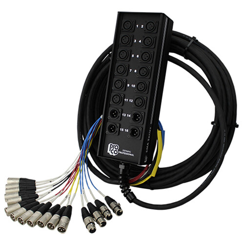 Pro Co Sound StageMaster Snake 16 Channel Stagebox to Fanout (12x Send + 4x XLR Male Return) (25')