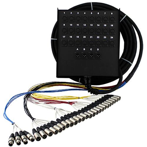 Pro Co Sound StageMaster Snake 28 Channel Stagebox to Fanout (24 x Send + 4 x XLR Male Return) (150')