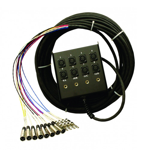 """Pro Co Sound StageMaster Snake 12 Channel Stagebox to Fanout (8x Send + 4x 1/4"""" TRS Stereo Phone Male Return) (50')"""
