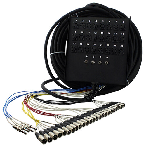 """Pro Co Sound StageMaster Snake 28 Channel Stagebox to Fanout (24 x Send + 4 x 1/4"""" TRS Return) (150')"""