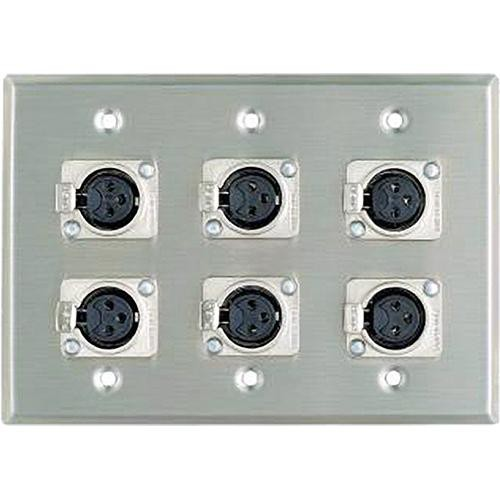 Pro Co Sound WP3002 3-Gang 6-XLR Female Wallplate