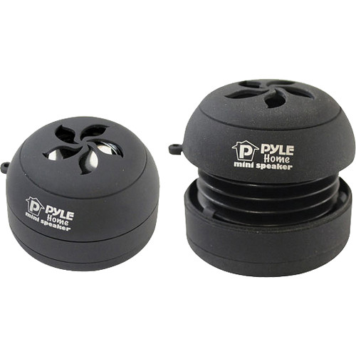 Pyle Home Bass Expanding Rechargeable Dual Mini Speakers (Black)