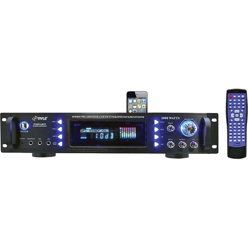 Pyle Pro P2002ABTI AM/FM Receiver Amplifier with iPod Dock