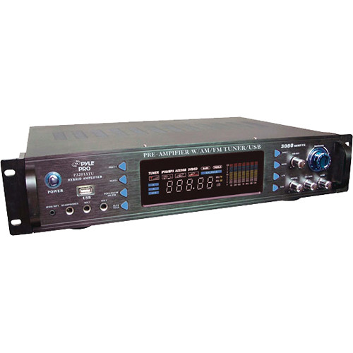 Pyle Pro 3000 Watt Hybrid Pre Amplifier with AM/FM Tuner and USB
