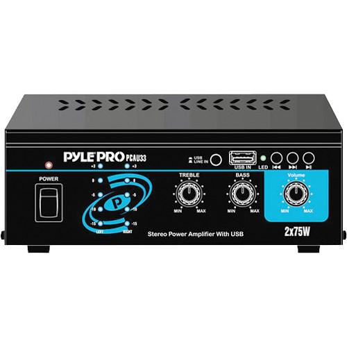 Pyle Pro PCAU33 Mini 75 Watt x 2 Stereo Power Amplifier w/ USB Input