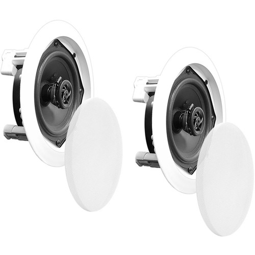 """Pyle Pro PDICRD 5.25"""" In-Wall/In-Ceiling 150W 2-Way Stereo Speakers (Pair, White)"""