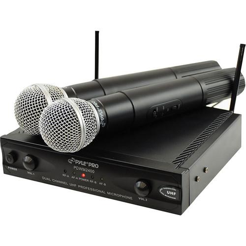 Pyle Pro PDWM2400 2-Channel UHF Wireless Microphone