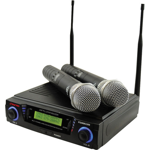 Pyle Pro PDWM3300 Wireless Professional UHF Dual Channel Microphone System