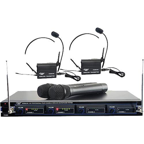 Pyle Pro PDWM4300 4-Mic VHF Wireless Rack Mount Microphone System