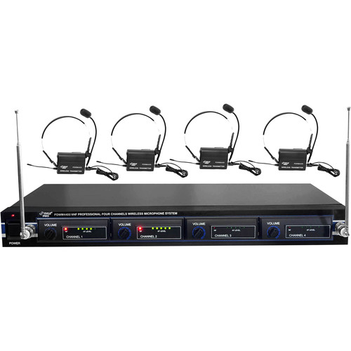 Pyle Pro PDWM4400 4-Mic VHF Wireless Rack Mount Microphone System