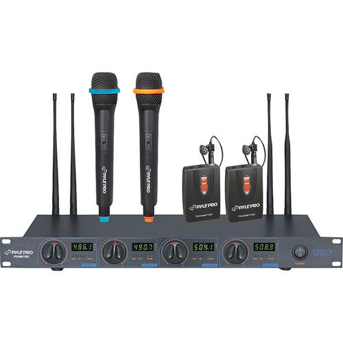 Pyle Pro PDWM7300 4-Channel Wireless UHF Microphone System
