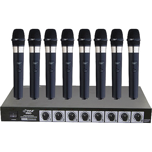 Pyle Pro PDWM8400 8-Mic VHF Wireless Rack Mount Microphone System
