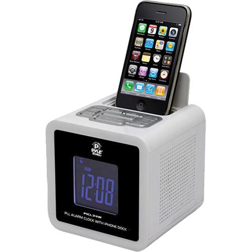 Pyle Pro iPod/iPhone Clock Radio with FM Receiver & Dual Alarm Clock (White)
