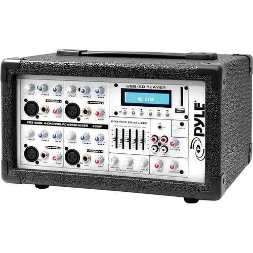 Pyle Pro PMX402M - 400 Watt 4-Channel Powered PA Mixer/Amplifier