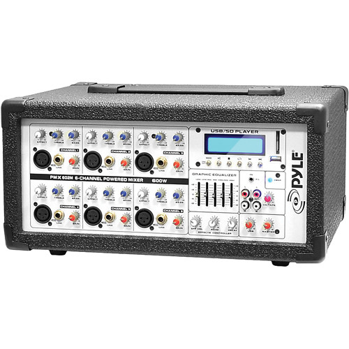Pyle Pro PMX602M - 600 Watt 6-Channel Powered PA Mixer/Amplifier