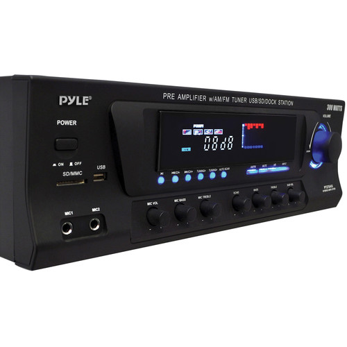 Pyle Pro PT270AIU 300 Watts Stereo Receiver AM-FM Tuner, USB/SD, iPod Docking Station & Subwoofer Control
