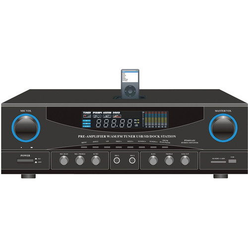 Pyle Home PT4601AIU 500 Watt Stereo Receiver AM-FM Tuner/USB/SD/iPod Docking Station & Subwoofer Control