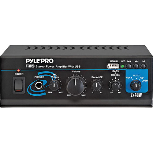 Pyle Pro PTAU23 Mini 40 Watt x 2 Stereo Power Amplifier w/ USB/Aux Inputs