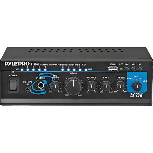 Pyle Pro PTAU45 Mini 120 Watt x 2 Stereo Power Amplifier w/ USB/CD/Aux Inputs