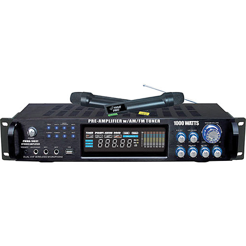 Pyle Pro PWMA1003T Hybrid Stereo Receiver Amplifier with AM/FM Tuner & 2 Wireless Microphones (1000 W, 2 RU)