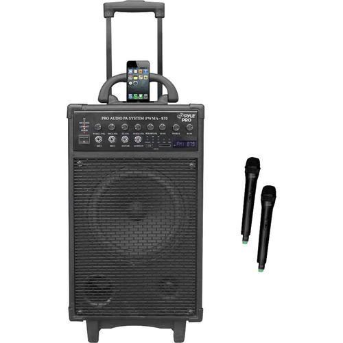 Pyle Pro 300W Dual-Channel Wireless Rechargeable Portable PA System