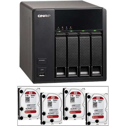 QNAP 12TB (4 x 3TB) TS-412 Turbo NAS Server Kit with Hard Drives