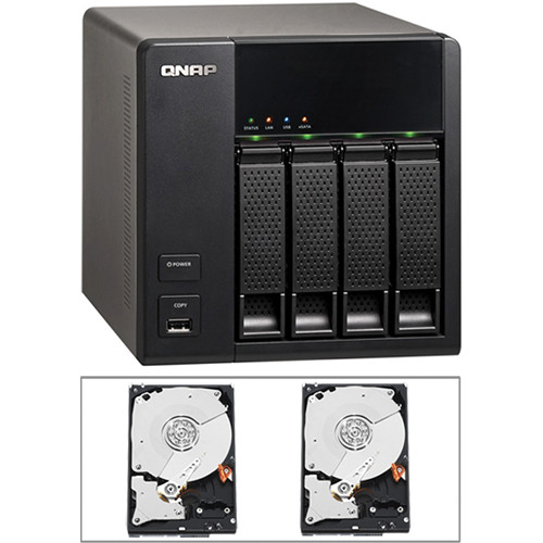 QNAP 6TB (2 x 3TB) TS-412 Turbo 4-Bay NAS Server Kit with Hard Drives