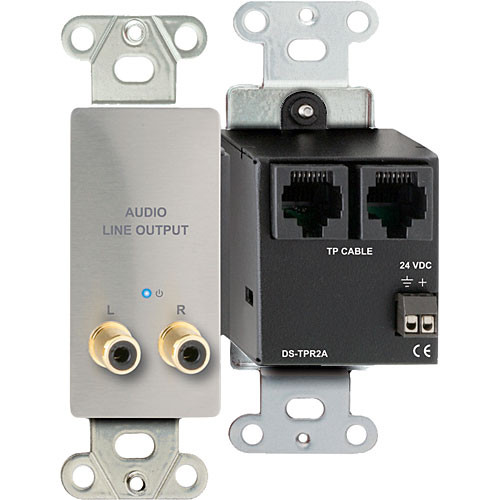 RDL DS-TPR2A Active RCA Stereo Audio Output over Dual RJ45 Receiver Module (Silver)